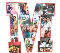Love theme Letter Shaped photo collage