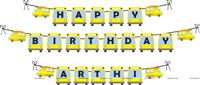 Happy Birthday Banners - Wheels on a bus birthday party supplies | School Bus theme