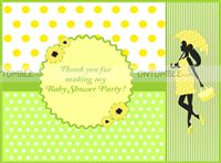 Yellow Baby Shower theme Thank you cards-Green and Yellow